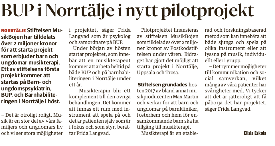 Projekt på BUP Norrtälje startas